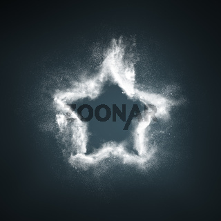 Abstract design of white powder particles star shape explosion over dark background
