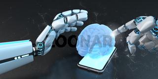 Humanoid Robot Hand Smarthone Human Brain