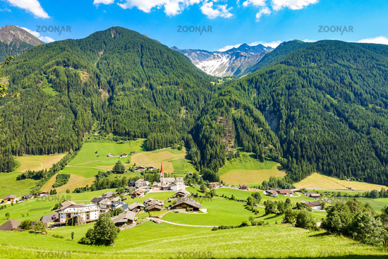 The picturesque village of Sankt Jakob in the Ahrntal Valley, South Tyrol, Italy