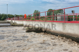 Sewage treatment, plant, aeration of the wastewater.