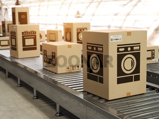 Household appliance in cardboard boxes on conveyor roller in distribution warehouse E-commerce,  delivery and packaging service concept.