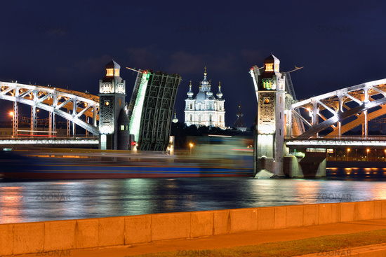 Smolniy cathedral and movable bridge in St-Petersburg