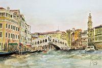 Venecia, canale grande with rialto bridge