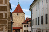 old tower and houses in city