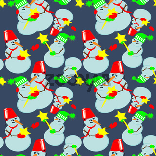 Seamless pattern - I will give you a star - snowmen