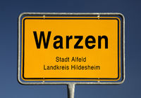 Warzen place name sign, district of the city of Alfeld (Leine), Lower Saxony, Germany, Europe