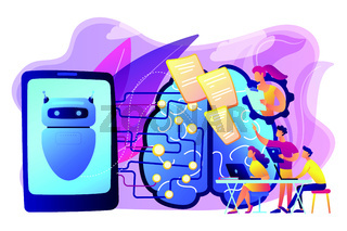 Chatbot passing the Turing test concept vector illustration.