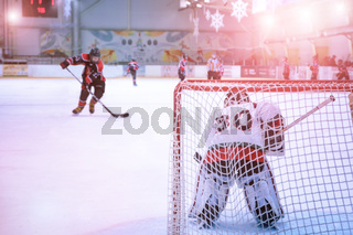 goalkeeper defending the goal and the hockey player rides on it