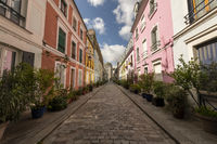 France, Paris, a pedestrian street of one block worker's houses.