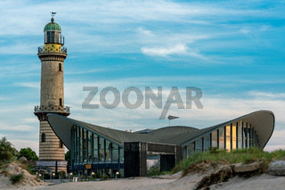 Lighthouse in Warnemuende at the Baltic Sea coast