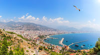 Alanya port in the harbour, panoramic view from the Alanya castle, Turkey