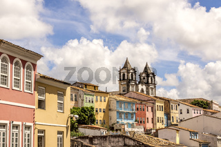 View of colonial architecture of Salvador city in Bahia Brazil