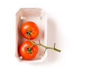two Organic ripe tomatoes in biodegradable tray