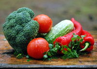 Fresh organic vegetables. Food background. Healthy food from garden broccoli