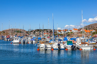 View of a marina and boats in the archipelago of the Swedish west coast