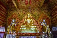 Gold Buddha statue, Wat Buppharam temple, Chiang Mai, Thailand