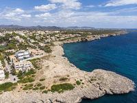 Aerial view, Porto Cristo, coast with villas and natural harbor, Mallorca, Balearic Islands Spain