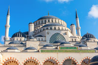 Gorgeous new mosque of Istanbul, the Camlica Mosque, facade view
