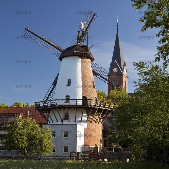 wind and water mill Lahde from 1876, Petershagen, North Rhine-Westphalia, Germany, Europe