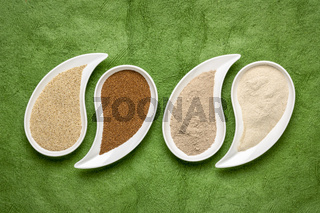 brown and ivory teff grain and flour