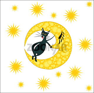 Year of the Cat. In the picture the cat is standing on the yellow moon against the starry sky, vector