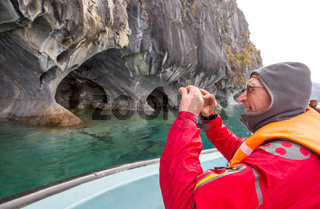 Tourist in Marble caves