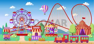 Amusement park panoramic lanscape, roller coaster, carousel, ferris wheel