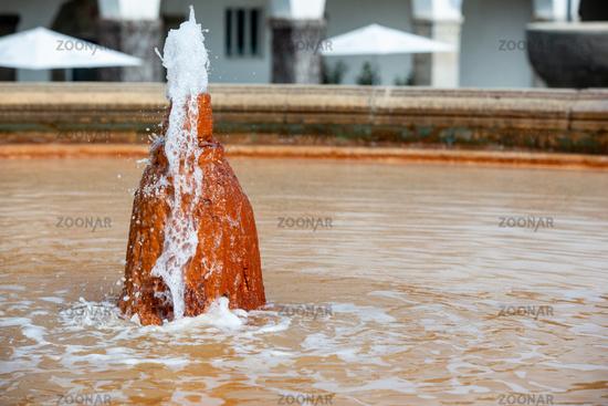 Fountain in the Art Nouveau spa complex Sprudelhof, Bad Nauheim