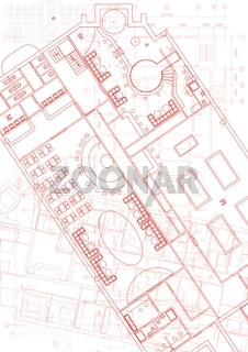 Architectural background with technical drawings. Blueprints plan texture. Drawing part of architectural project.