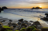 Pacific Ocean Beach Sunset with Seal Rocks viewed from the Sutro Baths.