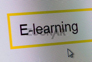 Word E-learning in search bar on computer monitor