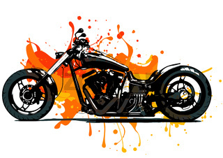 Artistic stylized motorcycle racer in motion. Vector illustration