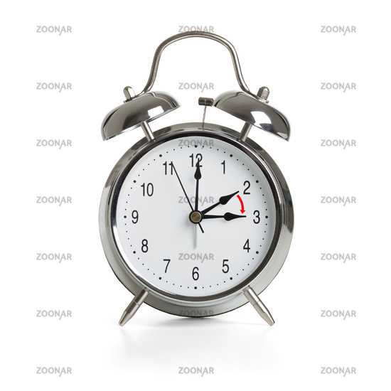 Clock time changing to summer time isolated on white background