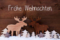 Moose, Wooden Tree, Snow, Frohe Weihnachten Means Merry Christmas