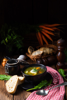 Rustikal Sorrel soup with potatoes and cream