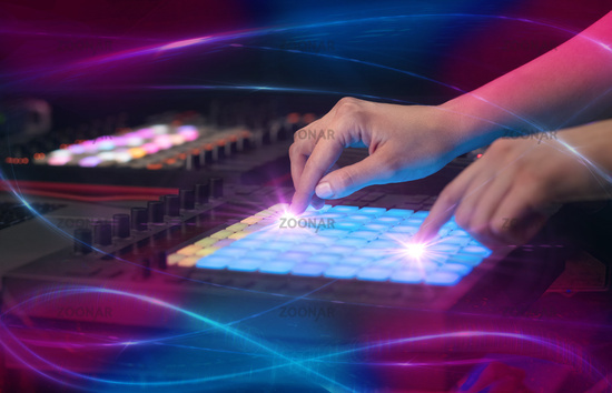 mixing music on midi controller with wave vibe concept