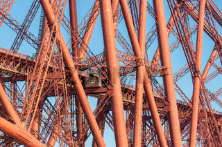 Construction detail Forth Bridge over Firth of Forth in Scotland