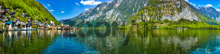 Panorama of Hallstatt village and Hallstatter See, Austria