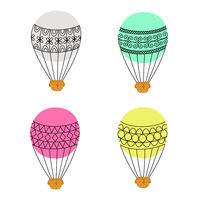 Aerostat air balloon outline colored icon set.