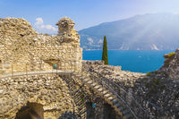 View from ruined castle Il Bastione at the historic district of Riva del Garda, Trient, Italy