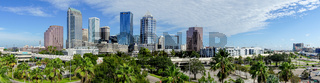 Downtown City Skyline in a Long Panorama Tampa Florida