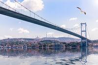 View on the Bosporus Bridge and Beylerbeyi palace on the background, Istanbul