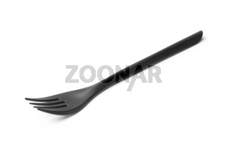 Black disposable plastic fork