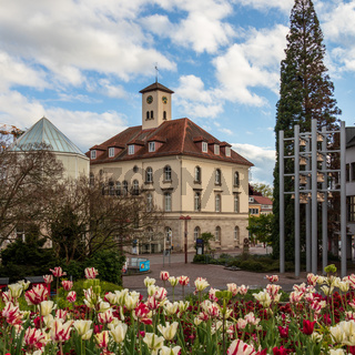 Sindelfingen, Baden Wurttemberg/Germany - May 11, 2019: City Gallery building, Stadtgalerie and cityhall square.