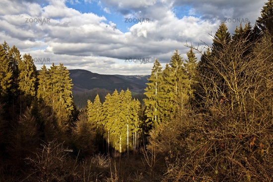 view from hiking path Sauerland-Hoehenflug to low mountain range, Plettenberg, Germany, Europe
