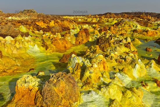 Fumarole field in the geothermal field of Dallol, Danakil depression, Afar Triangle, Ethiopia