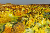 Fumarole field in the geothermal field of Dallol, Danakil depression, Afar Triangle, Ethiopia
