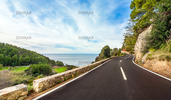 Coastal Road at the South Coast of Mallorca Spain