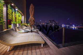Beach Lounge Chairs Next to Pool Luxurious Hotel Scene Night Skyline View Empty Nobody