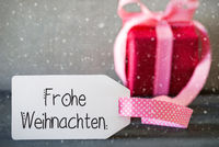 Pink Christmas Gift, Calligraphy Frohe Weihnachten Means Merry Christmas, Snowflakes